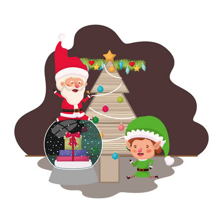 santa claus and elf with christmas tree vector illustration desing