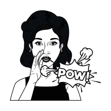 woman with speech bubble about comic vector illustration design