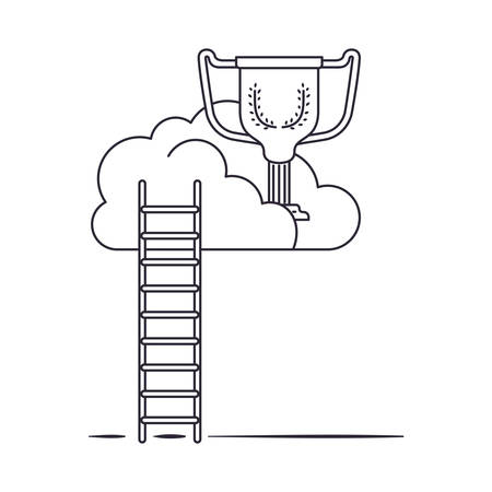 clouds with trophy and stairs isolated icon vector illustration design