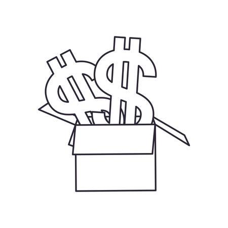 cardboard box with dollar symbol isolated icon vector illustration design Векторная Иллюстрация