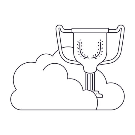 clouds with trophy isolated icon vector illustration design