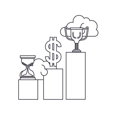bar graph with hourglass and trophy vector illustration design Illustration