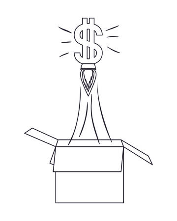 dollar symbol rocket coming out of the box vector illustration design Vectores