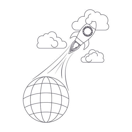 globe with lines and rocket isolated icon vector illustration design