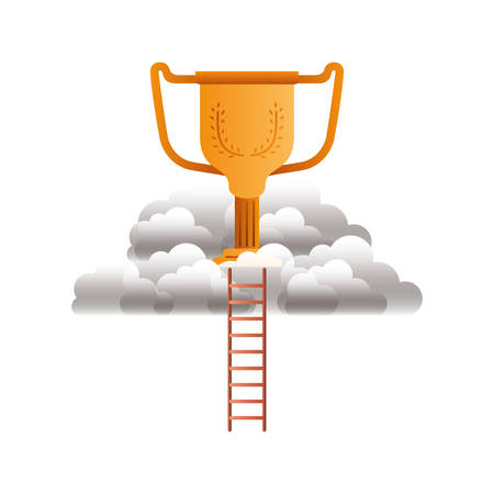 trophy gold with clouds and stairs vector illustration design