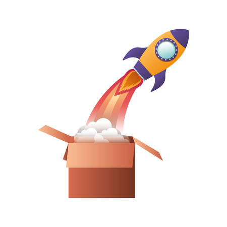 cardboard box with rocket isolated icon vector illustration design Illustration
