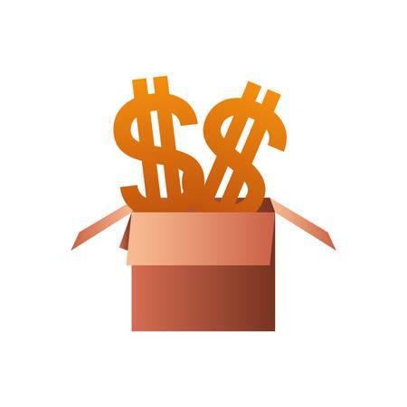 cardboard box with dollar symbol isolated icon vector illustration design