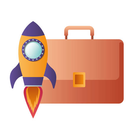 rocket with suitcase isolated icon vector illustration design
