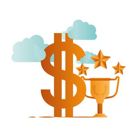 symbol of dollar and trophy vector illustration design