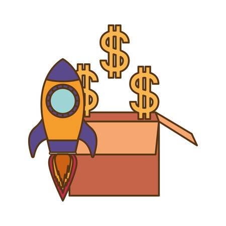dollar symbol with rocket isolated icon vector illustration design Illustration