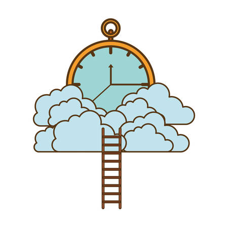 clock with clouds and stairs vector illustration design