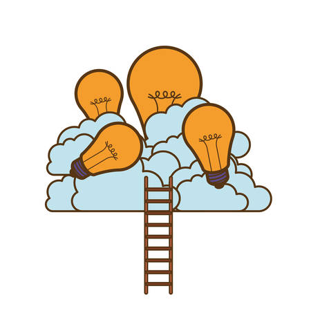light bulbs with clouds and stairs vector illustration design Vectores