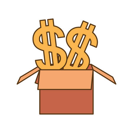 cardboard box with dollar symbol isolated icon vector illustration design