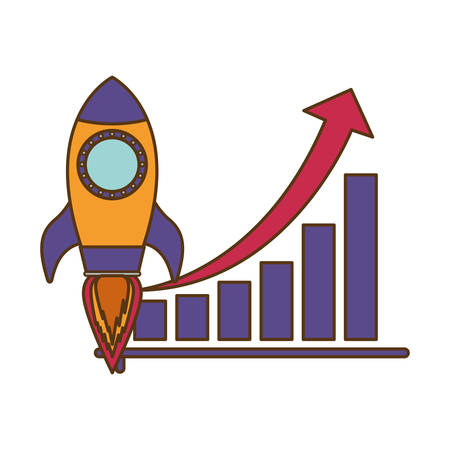 bar graph with rocket isolated icon vector illustration design Illustration