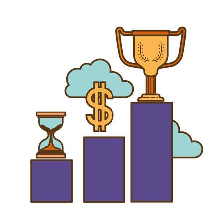 bar graph with hourglass and trophy vector illustration design Векторная Иллюстрация
