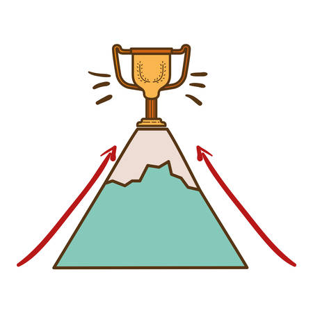 mountain with trophy isolated icon vector illustration design
