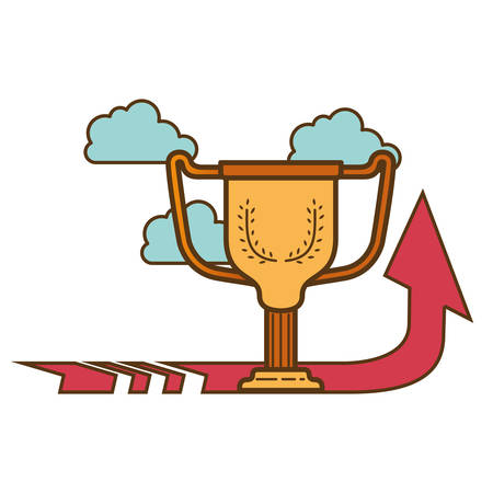 trophy with arrow up isolated icon vector illustration design