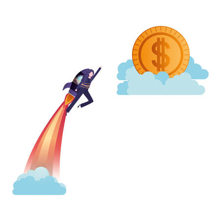 businesswoman on rocket and coin avatar character vector illustration desing