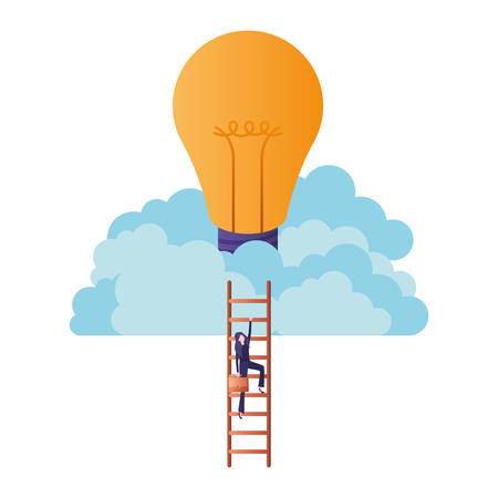 businesswoman with stair and light bulb avatar character vector illustration desing
