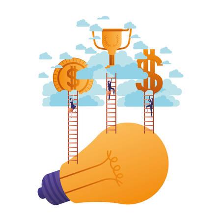 businesswomen with golden money and stairs character vector illustration desing Standard-Bild - 113452699