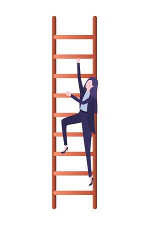 Geschäftsfrau mit Treppenavatar-Charakter-Vektor-Illustrationsdesign