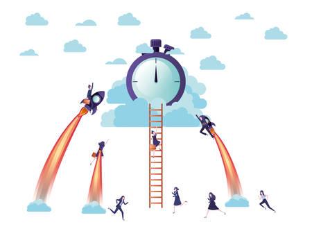 businesswomen on rocket and clock avatar character vector illustration desing