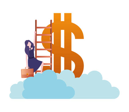 businesswoman with dollar sign and stair character vector illustration desing Иллюстрация