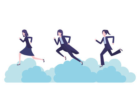 businesswomen with clouds avatar character vector illustration desing
