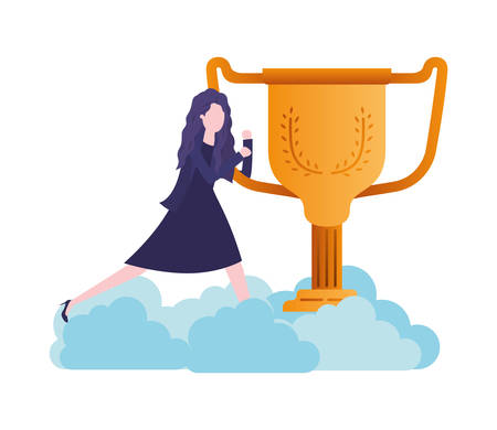 businesswoman in the clouds with trophy avatar character vector illustration desing