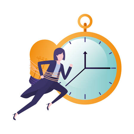 businesswoman with clock and light bulb character vector illustration desing Illustration