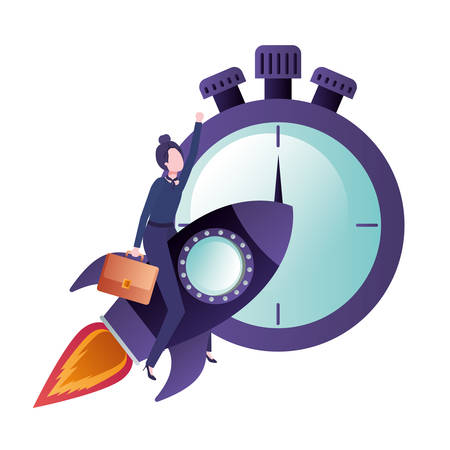 businesswoman on rocket and clock avatar character vector illustration desing 向量圖像
