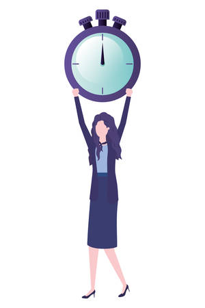 businesswoman with clock avatar character vector illustration desing Illustration