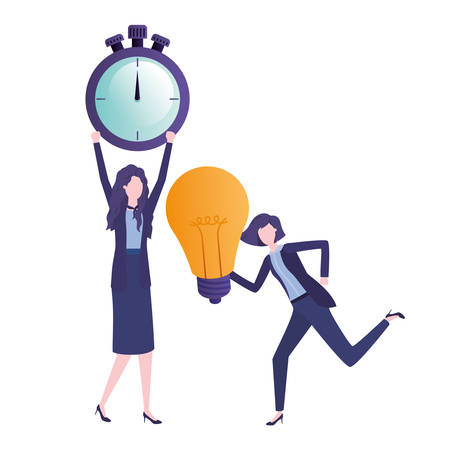 businesswomen with clock and light bulb character vector illustration desing