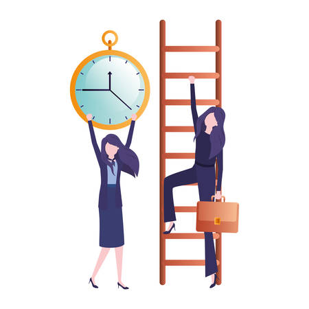 businesswomen with stair and clock avatar character vector illustration desing
