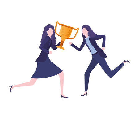 businesswomen with trophy avatar character vector illustration desing