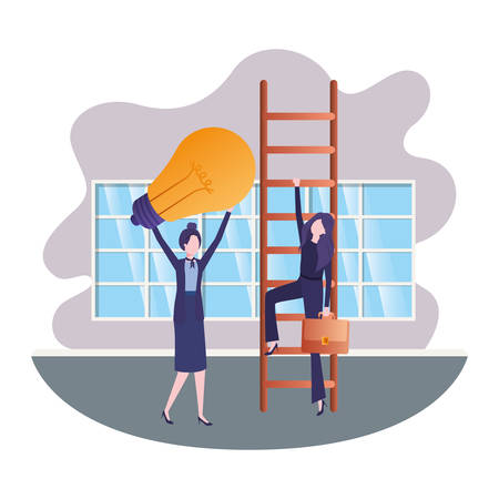 businesswomen with stair and light bulb in living room vector illustration desing