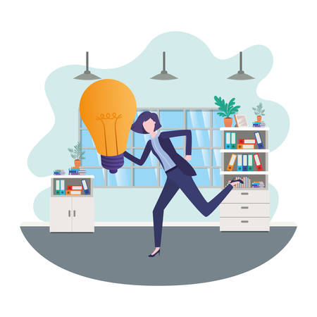businesswomen with lightbulb in living room vector illustration desing 일러스트