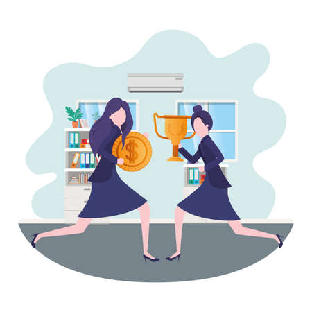 businesswomen with trophy and coin in living room vector illustration desing