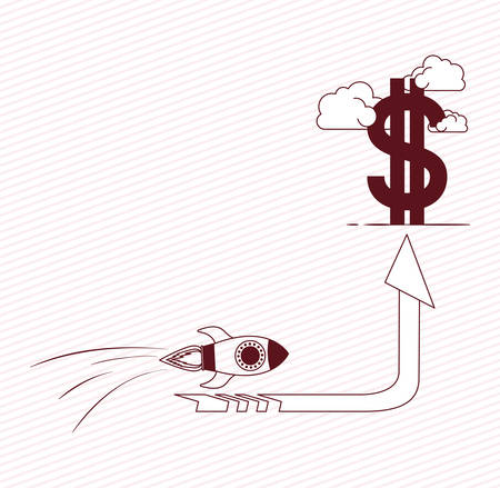 rocket start up with money symbol vector illustration design Illustration