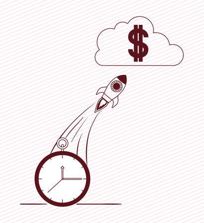 rocket start up with money symbol vector illustration design 일러스트