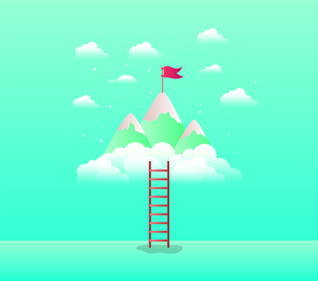 mountains with flag with stair vector illustration design