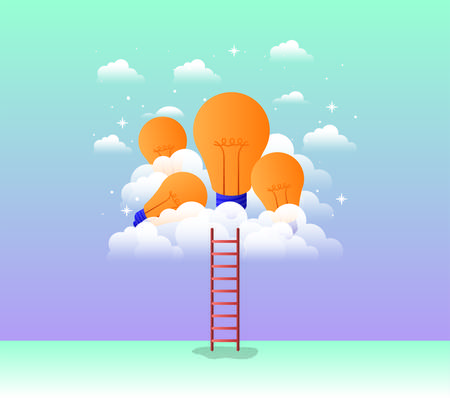 bulbs light in the sky with stair vector illustration design Vectores