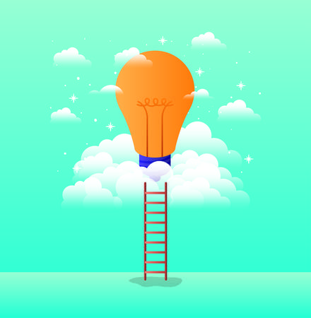 bulb light in the sky with stairs vector illustration design Vectores