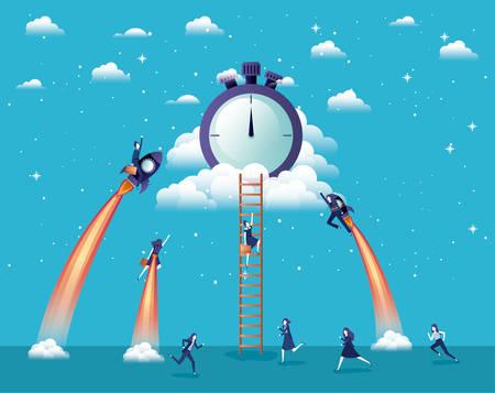 businesswomen flying in rockets start up with chronometer vector illustration Illustration