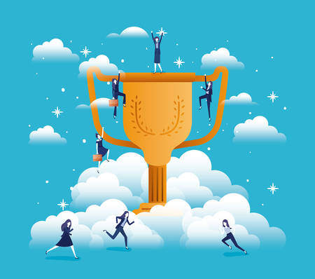 trophy cup isolated icon vector illustration design Stock Illustratie