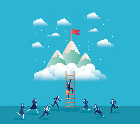 business people in mountains with flag with stair vector illustration design