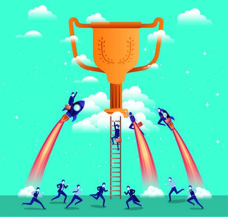 businessmen flying in rockets start up with trophy vector illustration design 일러스트