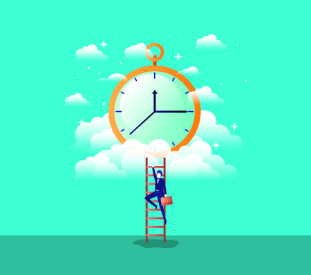 chronometer timer with businessman vector illustration design