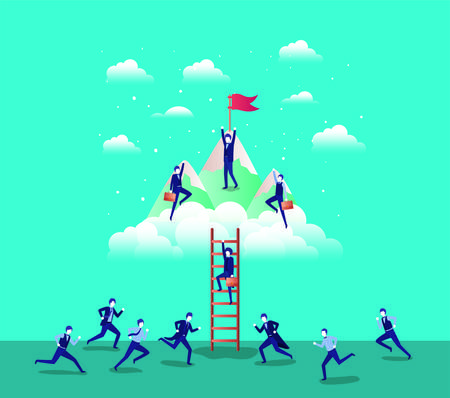 business people in mountains with flag with stair vector illustration design Vector Illustration