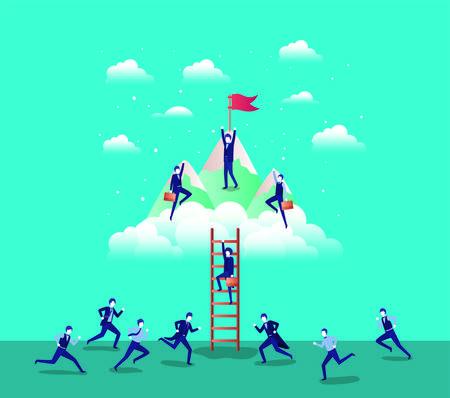 Les gens d'affaires dans les montagnes avec drapeau avec escalier vector illustration design Vecteurs